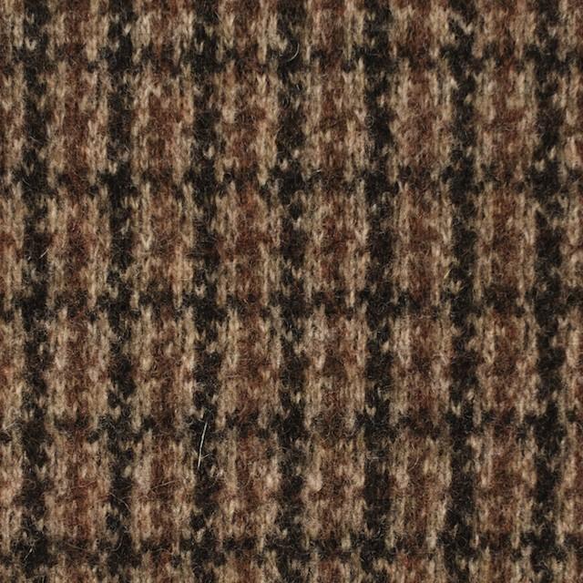 ウール&アクリル×チェック(ブラウン)×ジャガードニット イメージ1