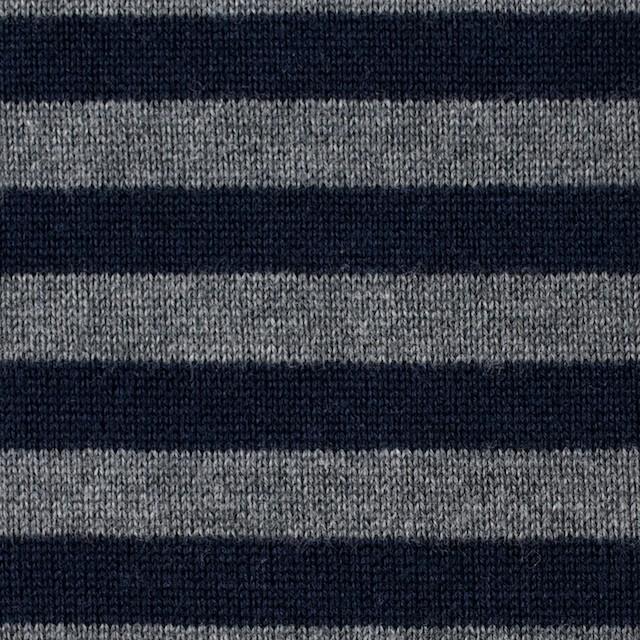 コットン&アクリル×ボーダー(ネイビー&グレー)×天竺ニット イメージ1