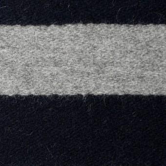 ウール×ボーダー(ネイビー&グレー)×フラノ(フランネル) サムネイル1