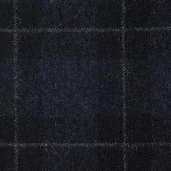 ウール×チェック(ダークネイビー&ブラック)×サージ サムネイル1