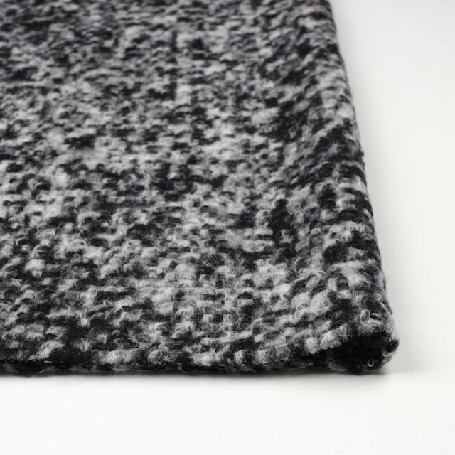 ウール&ポリエステル×モザイク(オフホワイト&ブラック)×ループニット イメージ3