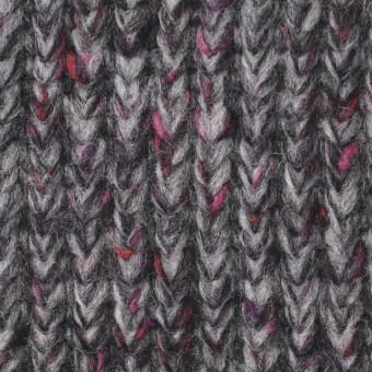 ウール×ミックス(グレー&ピンク)×リブ編みニット サムネイル1