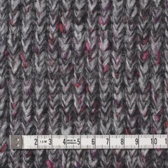 ウール×ミックス(グレー&ピンク)×リブ編みニット サムネイル4