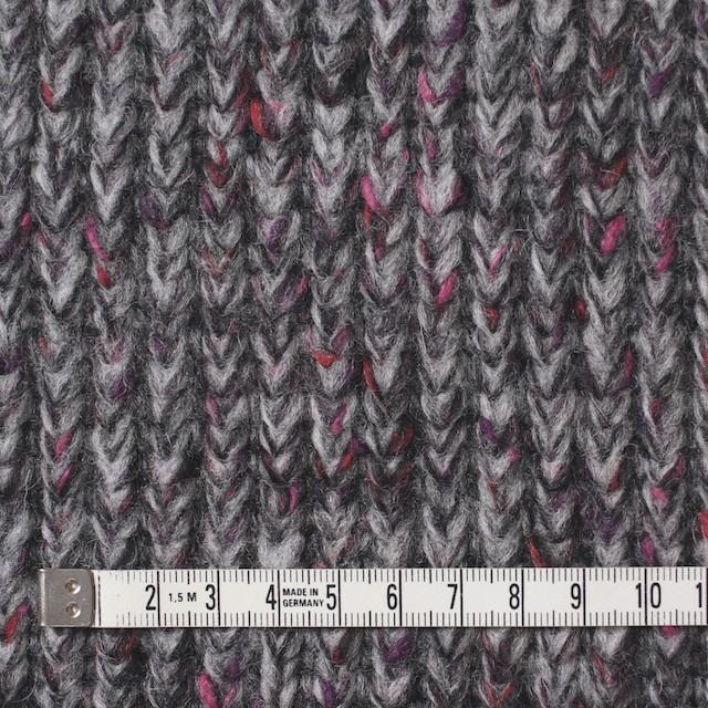 ウール×ミックス(グレー&ピンク)×リブ編みニット イメージ4