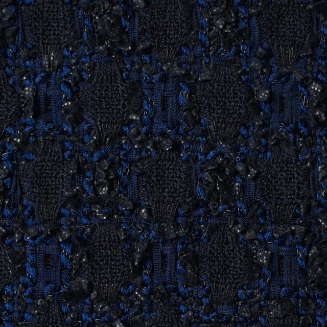 ウール×ナイロン混×幾何学模様(ダークネイビー&ロイヤルブルー)×ファンシーツイード イメージ1