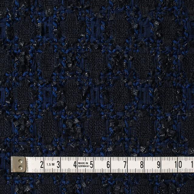 ウール×ナイロン混×幾何学模様(ダークネイビー&ロイヤルブルー)×ファンシーツイード イメージ4