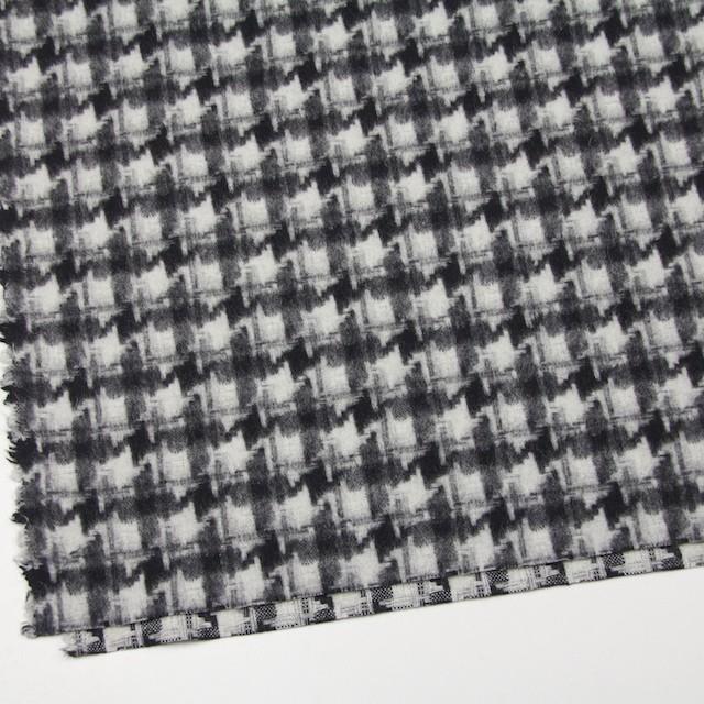 ウール&ポリエステル×チェック(アイボリー&ブラック)×千鳥格子_全2色 イメージ2