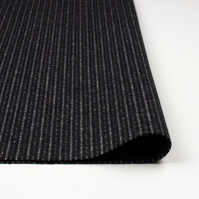 ウール&ナイロン×ストライプ(ブラック)×メルトン イメージ3