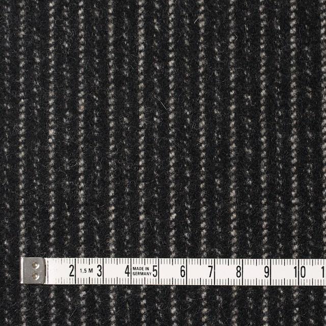 ウール&ナイロン×ストライプ(ブラック)×メルトン イメージ4