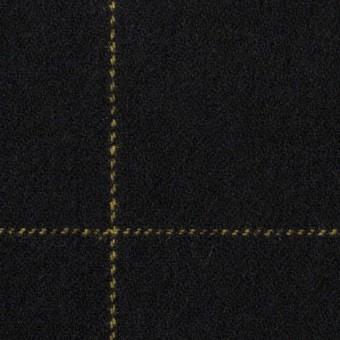 ウール×チェック(オーカー&ブラック)×カルゼ