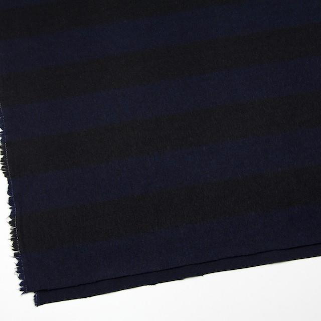 ウール×ボーダー(ネイビー&ブラック)×シャギー イメージ2