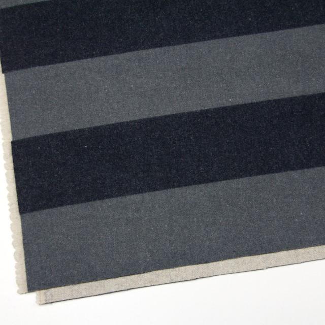 ウール×ボーダー(フレンチグレー&チャコールグレー)×フラノ(フランネル)_全2色 イメージ2
