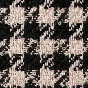 ウール&アクリル混×千鳥格子(ピンク&ブラック)×ファンシーツイード