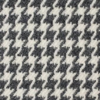 ウール&ナイロン混×チェック(アイボリー&グレー)×千鳥格子