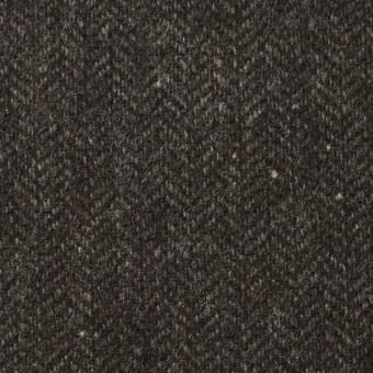 ウール&ナイロン混×無地(ダークブラウン)×ヘリンボーン・ストレッチ_全3色