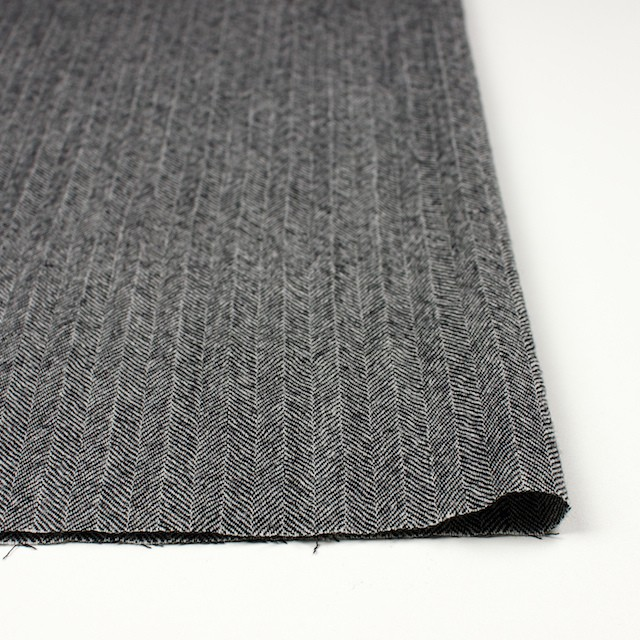 ウール×ミックス(アイボリー&ブラック)×ヘリンボーンガーゼ イメージ3