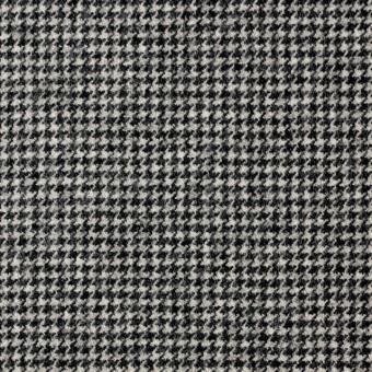 ウール&ポリウレタン×チェック(アイボリー&ブラック)×千鳥格子・ストレッチ