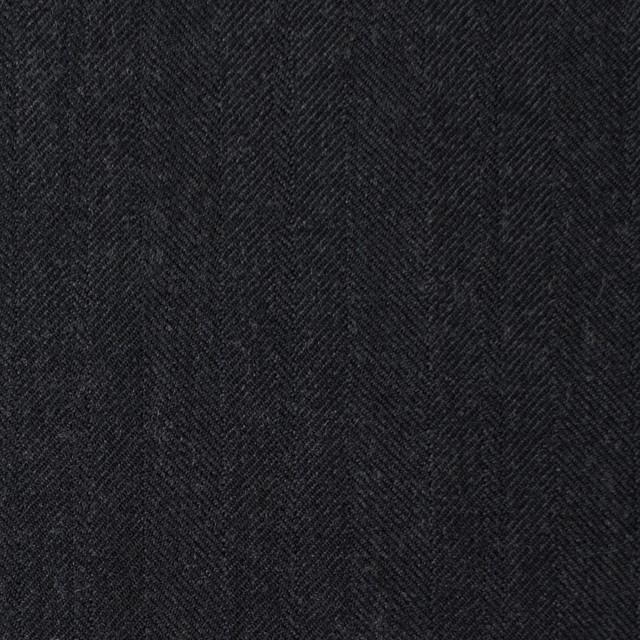 ウール×無地(チャコールブラック)×ヘリンボーン イメージ1