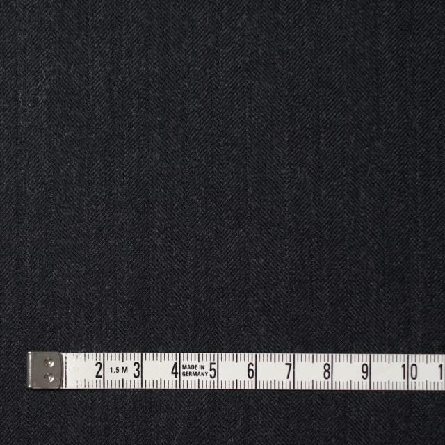 ウール×無地(チャコールブラック)×ヘリンボーン イメージ4
