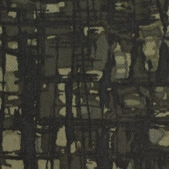 コットン&ポリウレタン×幾何学模様(カーキグリーン)×チノクロス・ストレッチ_全2色