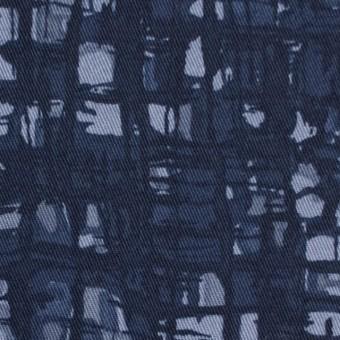 コットン&ポリウレタン×幾何学模様(アイアンネイビー)×チノクロス・ストレッチ_全2色