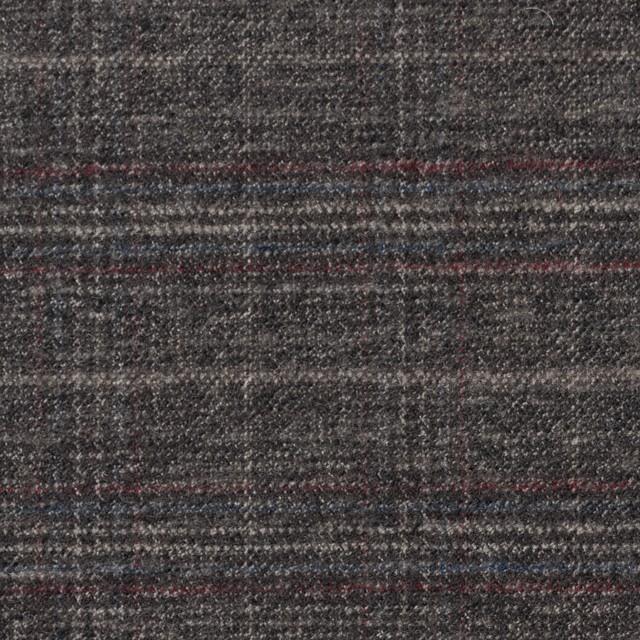 ポリエステル&レーヨン混×チェック(グレイッシュブラウン)×サージストレッチ イメージ1
