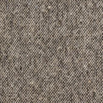 【140cmカット】ウール&ポリエステル混×無地(ブラウン)×ツイードストレッチ