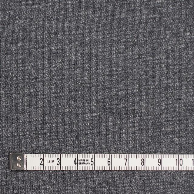 コットン×無地(チャコールグレー)×裏毛ニット(裏面起毛) イメージ4