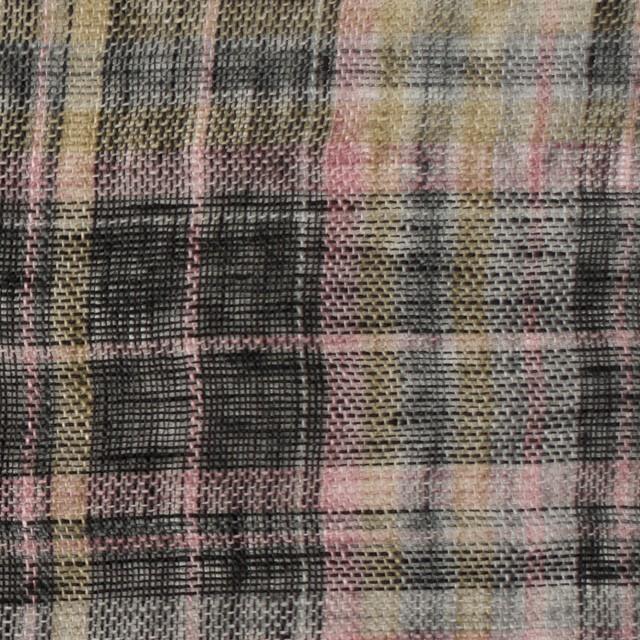リネン×チェック(ピンク&ブラック)×ガーゼ_全3色 イメージ1