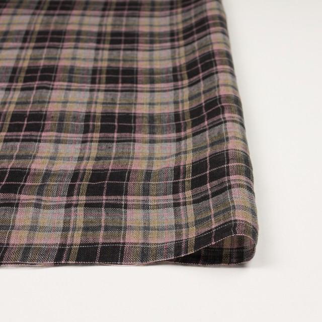 リネン×チェック(ピンク&ブラック)×ガーゼ_全3色 イメージ3