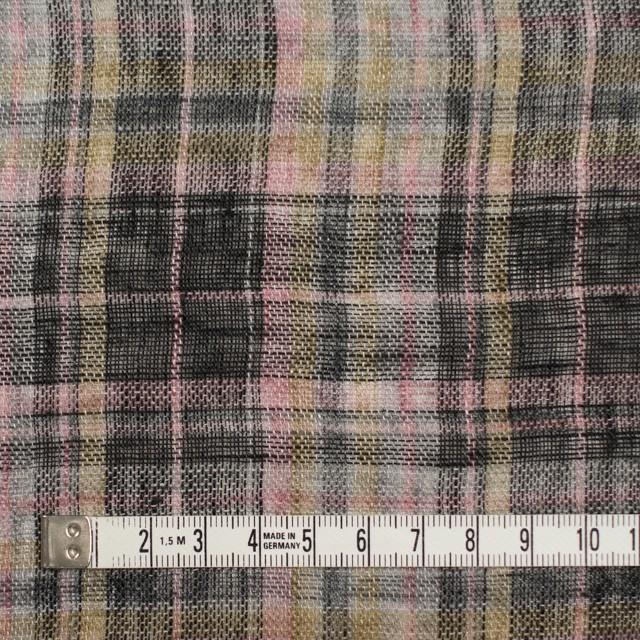 リネン×チェック(ピンク&ブラック)×ガーゼ_全3色 イメージ4