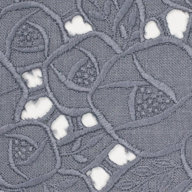 リネン×フラワー(ラベンダーグレー)×薄キャンバス刺繍_全2色 イメージ1