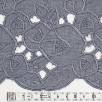 リネン×フラワー(ラベンダーグレー)×薄キャンバス刺繍_全2色 サムネイル4