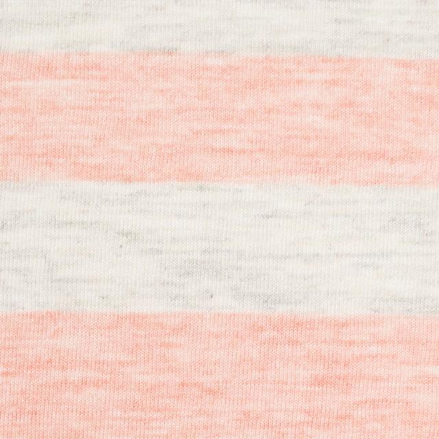 コットン&モダール×ボーダー(サーモンピンク&杢グレー)×天竺ニット_全3色 イメージ1