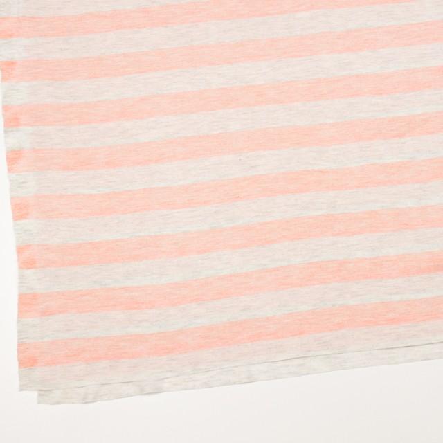 コットン&モダール×ボーダー(サーモンピンク&杢グレー)×天竺ニット_全3色 イメージ2