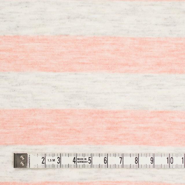 コットン&モダール×ボーダー(サーモンピンク&杢グレー)×天竺ニット_全3色 イメージ4