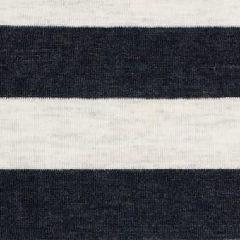 【150cmカット】コットン&モダール×ボーダー(ダークネイビー&杢グレー)×天竺ニット_全3色