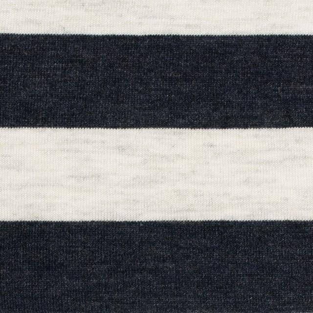コットン&モダール×ボーダー(ダークネイビー&杢グレー)×天竺ニット_全3色 イメージ1