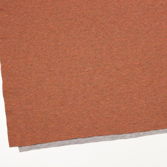 コットン×ボーダー(オレンジ&グレー)×接結天竺ニット イメージ2