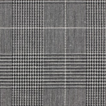 コットン&ポリウレタン×チェック(ライトグレー&ブラック)×かわり織ストレッチ