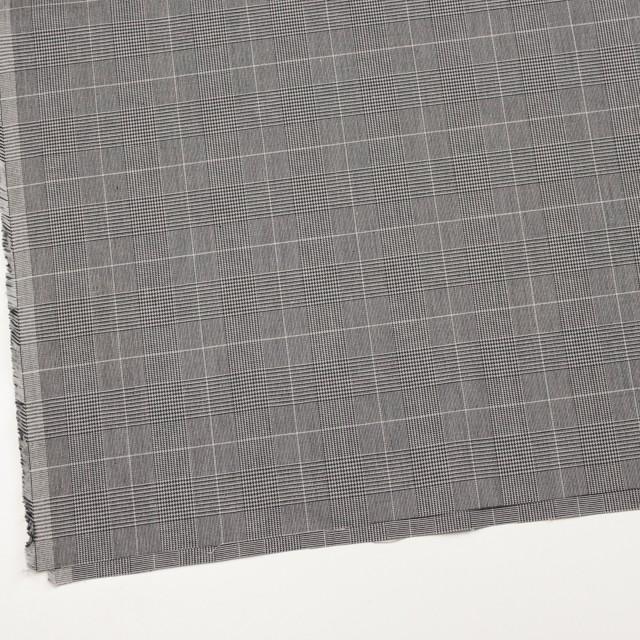 コットン&ポリウレタン×チェック(ライトグレー&ブラック)×かわり織ストレッチ イメージ2