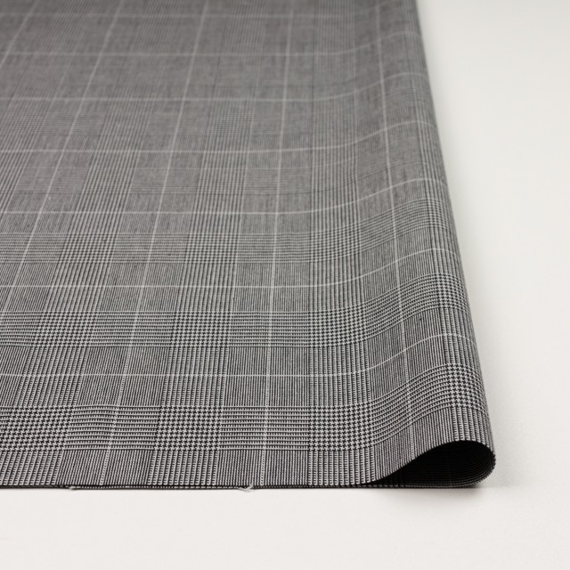 コットン&ポリウレタン×チェック(ライトグレー&ブラック)×かわり織ストレッチ イメージ3