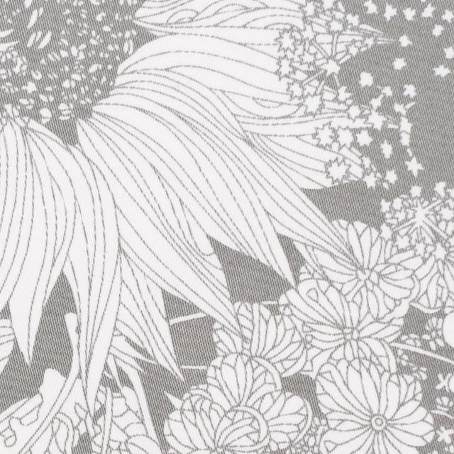 コットン&ポリウレタン×フラワー(グレー)×サテン・ストレッチ イメージ1