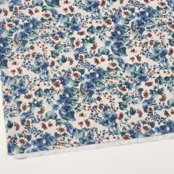 コットン&ポリウレタン×フラワー(ベージュ&ブルー)×チノクロス・ストレッチ サムネイル2