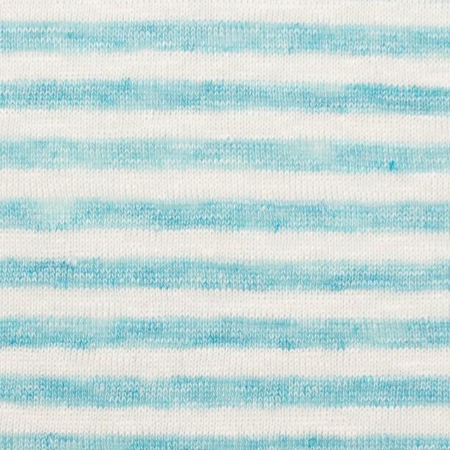 リネン×ボーダー(サックスブルー)×天竺ニット_全2色 イメージ1
