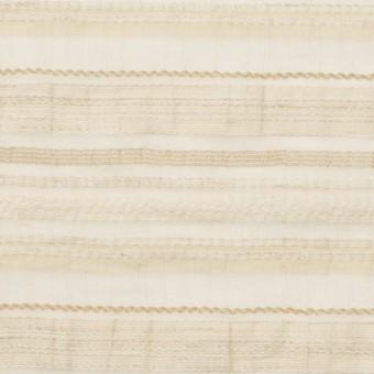 ナイロン&リネン混×ボーダー(ベージュ)×オーガンジー・ジャガード_全4色