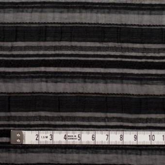 ナイロン&リネン混×ボーダー(ブラック)×オーガンジー・ジャガード_全4色 サムネイル4