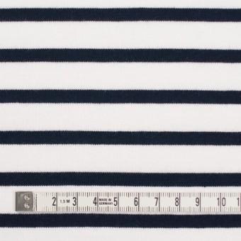 コットン×ボーダー(ホワイト&ダークネイビー)×天竺ニット_全4色 サムネイル4