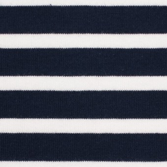 コットン×ボーダー(ダークネイビー&ホワイト)×天竺ニット_全4色 サムネイル1