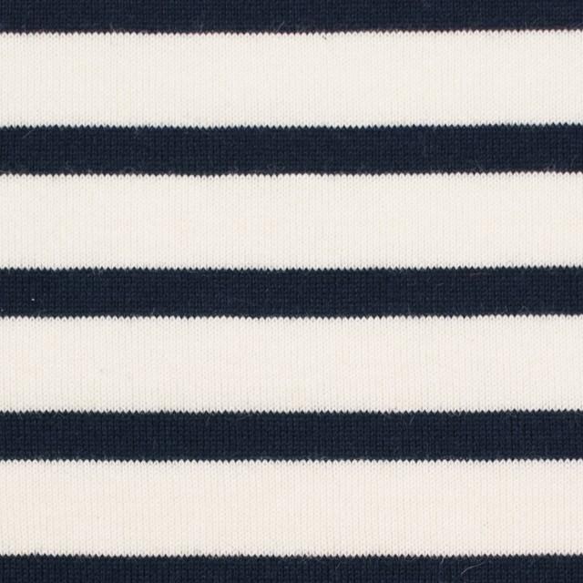 コットン×ボーダー(キナリ&ダークネイビー)×天竺ニット_全4色 イメージ1